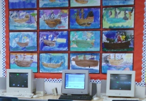 Second Graders Watercolor Paint Columbus Ships