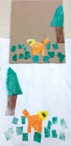 Dog and Tree Mono Print